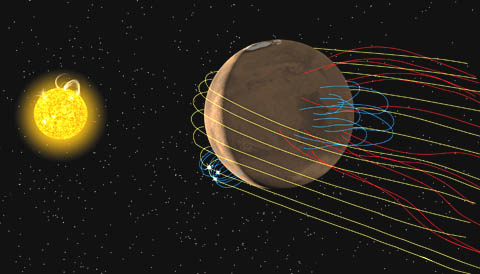 Mars' twisted magnetic fields