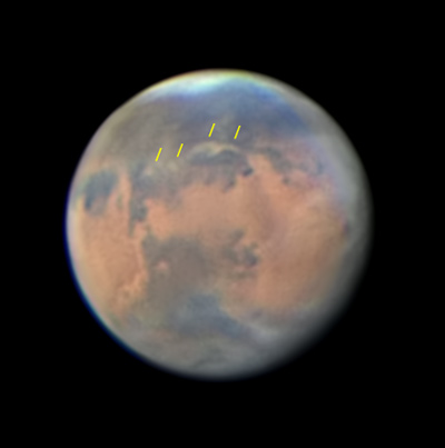 Mars with small dust storm, June 15, 2016