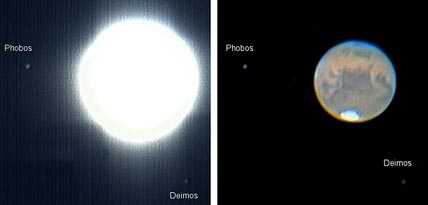 Mars with Phobos and Deimos
