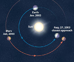Earth and Mars Orbiting the Sun