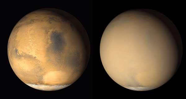 Mars Global Surveyor image of Martian dust storm in 2001