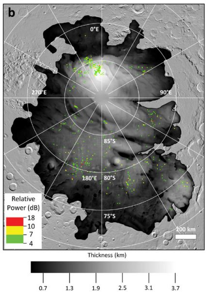 a map of the martian SPLD thickness and bright regions