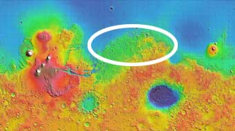 Mars topography map