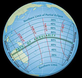 Path of May 2013's annular eclipse