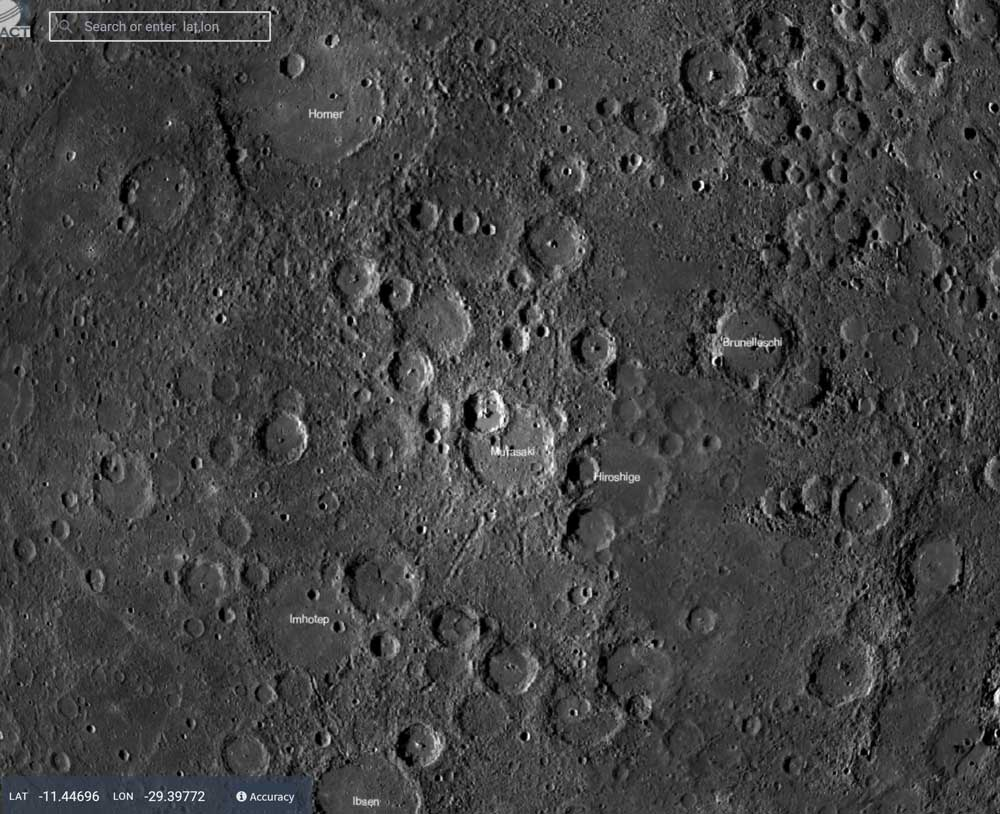 a close up of the map of mercury's surface, grey, with locations noted in white