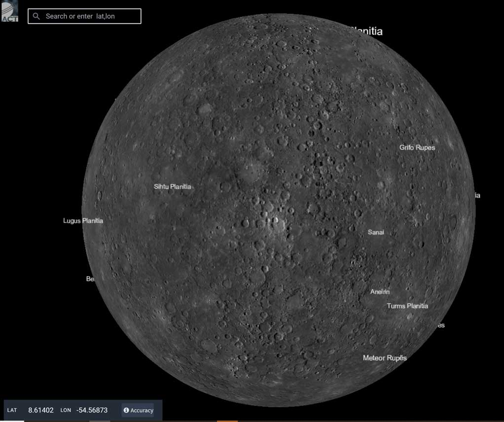 grey surface of mercury on a black background with locations on the surface noted