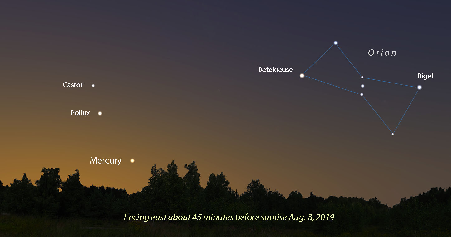 Displaying Mercury's favorable elongation in August