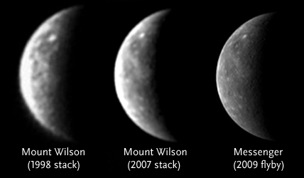 Mercury from Mount Wilson and from Messenger