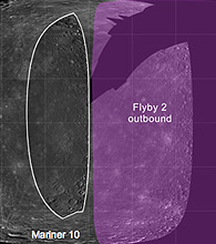 Mercury coverage by Mariner 10 and Messenger