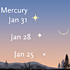 Mercury's position in late January 2014.