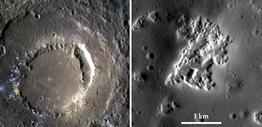 Mercury hollows close-up