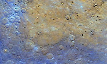 Mercurian plain in false color