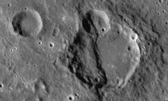 Cleaved crater on Mercury