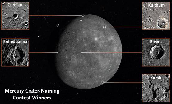 Newly named crters on Mercury
