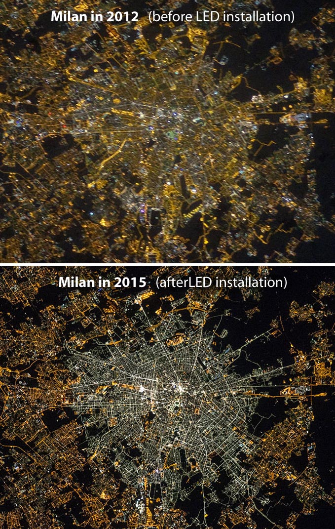 Milan streetlights in 2012 and 2015