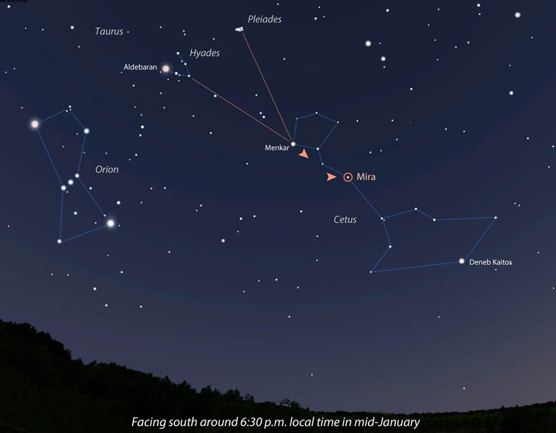 Follow the Hyades arrow to Mira