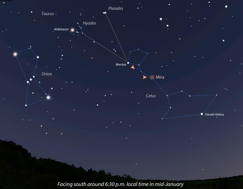 Follow the Hyades arrow to Mira
