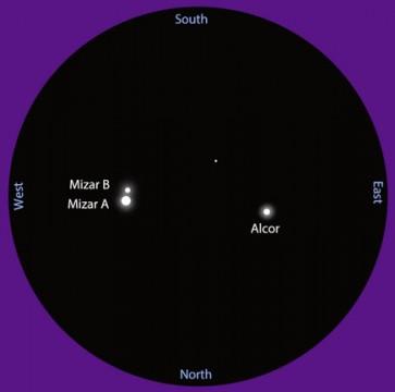 Mizar and companion Alcor in a 4.5-inch (11.4-cm) telescope. Bob King
