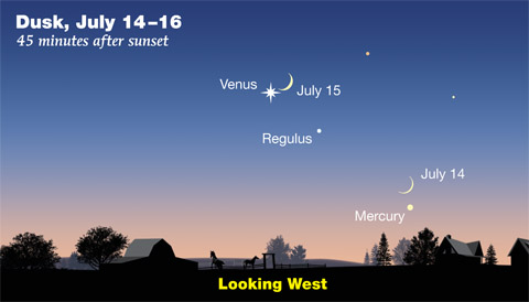 Moon-Venus-Mercury July 14-15