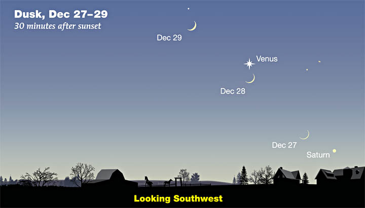 Moon and Venus on Dec 27-29