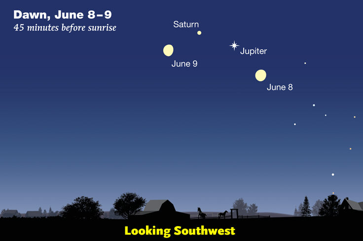 Moon near Jupiter and Saturn on June 8-9, 2020