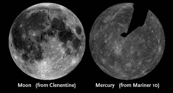 Moon and Mercury compared