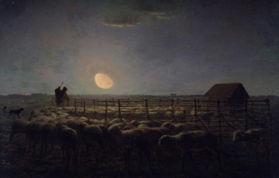 """A painting titled """"The Sheepfold"""" by Jean-Francois Millet captures the subtle coloration and deep shadows of moonlight."""