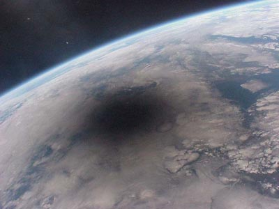 Moon's shadow from space
