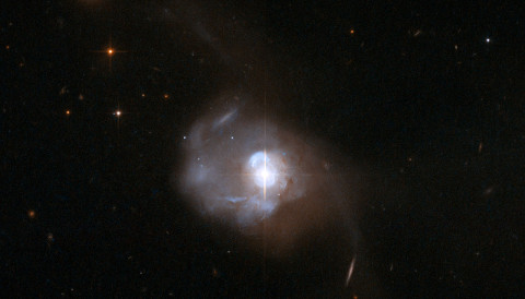 Markarian 231 is a nearby galaxy hosting an active galactic nucleus. NASA / ESA