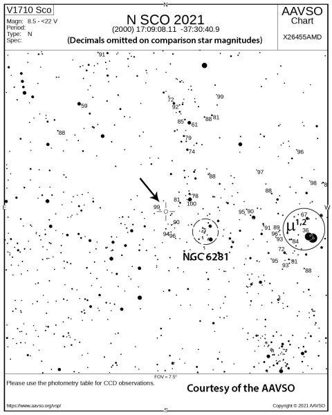 Map showing location of Nova Sco 2021 on the sky