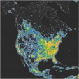 A map of North America's night sky brightness.   Falchi, et. al