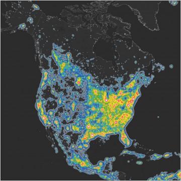 A map of North America's night sky brightness. Falchi, et. al