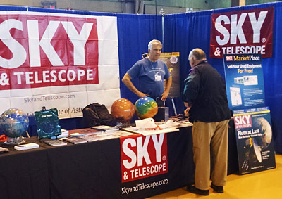 Sky & Telescope editor in chief Peter Tyson in  S&T's NEAF booth, 2015.