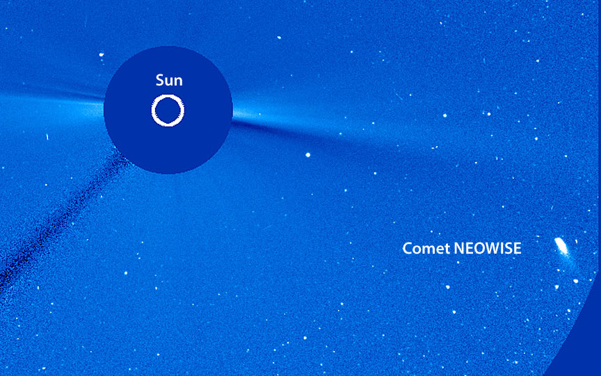 Comet NEOWISE as seen by SOHO's LASCO C3 coronagraph