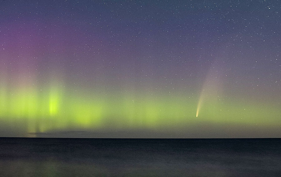 Comet NEOWISE above Lake Superior