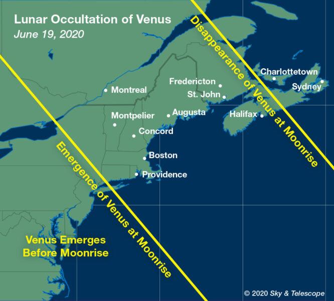 Visibility map for Venus occultation