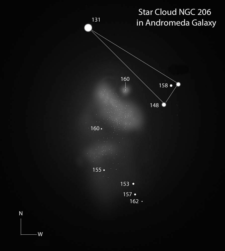 This sketch of the NGC 206 star cloud was made primarily using a 15-inch telescope, but it's also informed by a view through a 24-incher. A skinny triangle of stars just north of the cloud will help you get oriented. All the stars, with the exception of the 13.1 mag are labeled with magnitudes from Odewahn's list