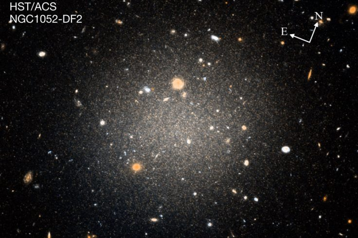 DF2, an apparently dark matter-less galaxy