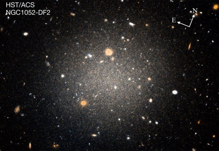 DF2, an apparently dark matter-less galaxy