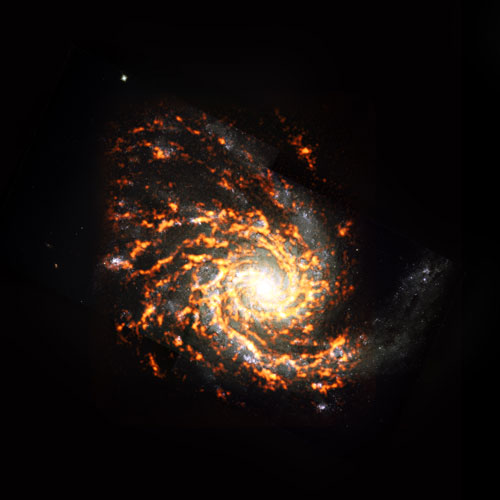 Galaxy NGC4254 shown in white, yellow and orange
