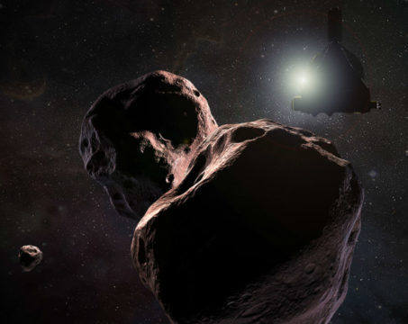 Illustration of New Horizons flying past 2014 MU69