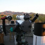 A handful of David Levy's friends await the onset of night at his Jarnac Observatory.  Left to right:  Esther (a 10-inch SCT), Flaire (a 14-inch SCT), Obadiah, Clyde, Pegasus (described in the accompanying text), and, at far right, the 10-inch binocular scope Gemini.