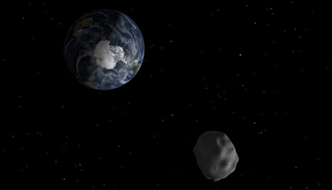 illo of a near-Earth asteroid