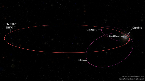 Orbits of 2015 TG<sub>387</sub>, Sedna, and 2014 VP<sub>113</sub