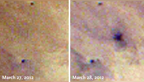 A new crater on Mars!