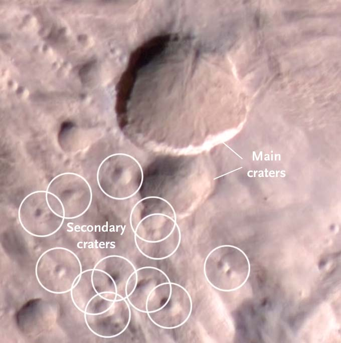 Closeup of Martian double crater