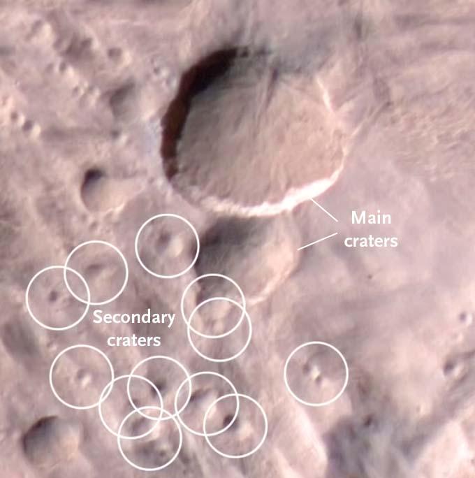 Closeup of Martian double crater