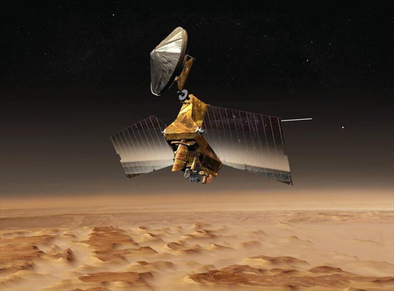 Mars Reconnaissance Orbiter over Nilosyrtis Mensae (art)