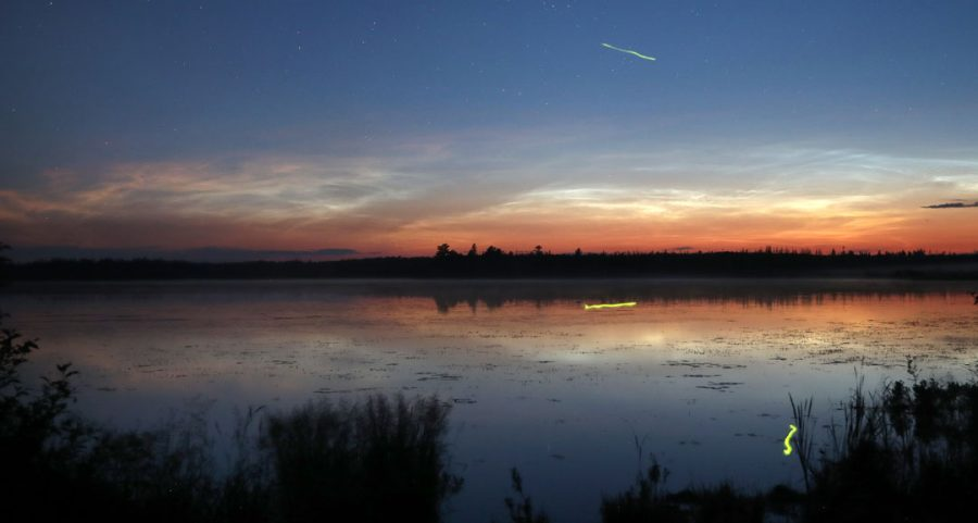 Noctilucent clouds form over a lake with fireflies
