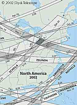 Occultation map of North America